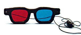  Original Bernell Model Red/Blue Computer Goggles with Elastic   (Single Pair)