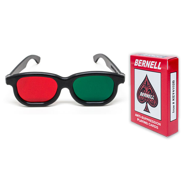 Bernell Version Red/Green Playing Cards with Red/Green Glasses Combo
