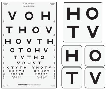 Distance acuity charts hotv pediatric eye chart for illuminated