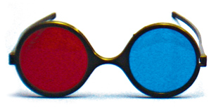  Child Size Red/Blue Reversible Computer Goggles   (Single Pair) 